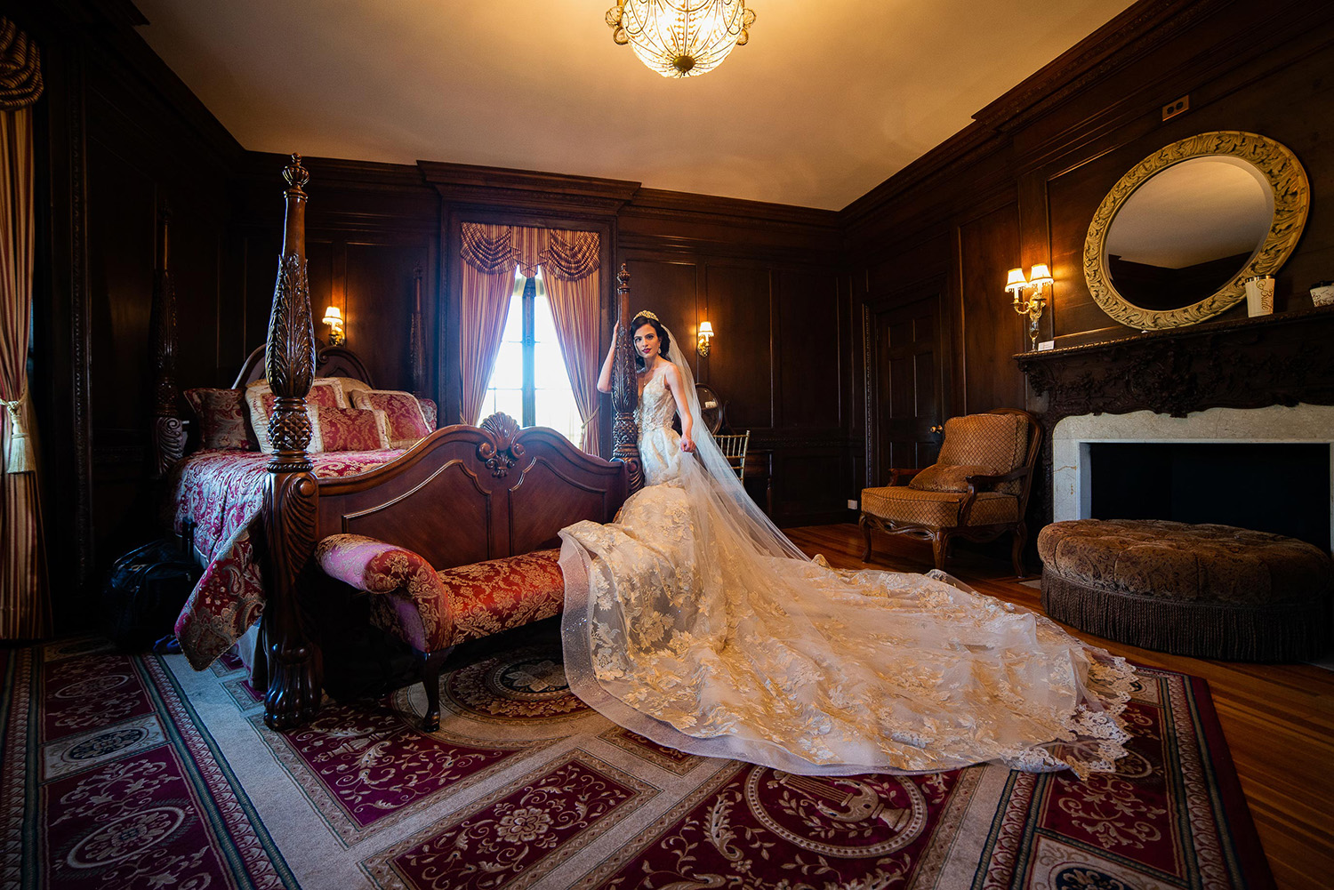 the NYIT de Seversky Mansion, in Glen Head, NY offers a beautiful bridal sweet to capture amazing photo os the bride.